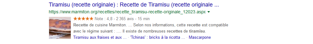 SEO : exemple de rich snippet sur Google