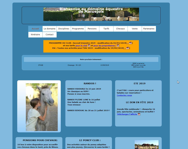 Site de centre équestre avant refonte graphique et éditoriale
