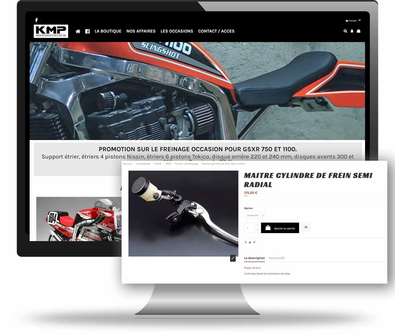 Site internet prestashop KMP, réalisation Art-In, création site internet professionnel